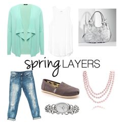 """""""spring"""" by suzannekobb ❤ liked on Polyvore featuring M&Co, Sans Souci, TOMS, Simply Vera, Bling Jewelry, FOSSIL, cutecardigan and springlayers"""