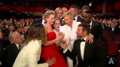 Ellen DeGeneres takes a selfie at the 2014 Oscars-----This is the most awesome thing! Ellen has the most amazing ability to make people completely at ease and happy, and can get them to do things they normally wouldn't! This has to be the first time any Oscars host has taken this approach. All throughout the show, she walked out in the seats and just talked to people and made jokes. Epic! Watch!