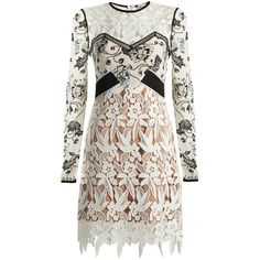 Self-portrait Swallow guipure-lace dress (€315) ❤ liked on Polyvore featuring dresses, vestido, white multi, holiday cocktail dresses, short evening dresses, white lace dress, lace dress and evening dresses