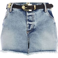 River Island Light wash belted denim high waisted shorts (2180 RSD) ❤ liked on Polyvore featuring shorts, bottoms, short, pants, sale, high waisted jean shorts, high-waisted denim shorts, short shorts, high rise jean shorts and retro shorts
