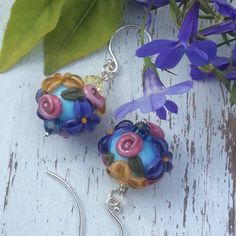 Rose Goldenrod and Purple Lampwork Earring by WithTheseHandsCreate