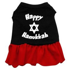 Happy Hanukkah Dog Dress - Black with Red-Medium