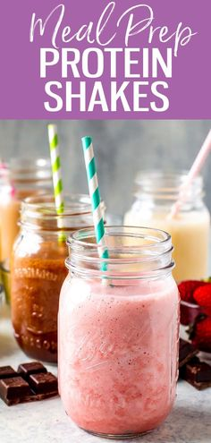 These are the best Protein Shake recipes on the internet, and they are SO easy! Try strawberry cheesecake, chocolate, vanilla, tropical or peanut butter banana! #proteinshakes Best Protein Shakes, Vanilla Protein Shakes, Chocolate Protein Shakes, Protein Shake Recipes, Whey Protein, Healthy Meals To Cook, Good Healthy Recipes, Clean Eating Recipes, Eating Healthy
