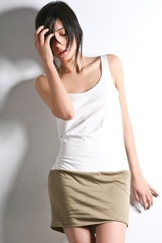 Wommens Summer Dress   Olive White Fitted Tunic SureFit by lamixx, $29.00