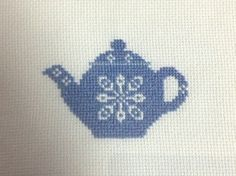 Paper Teapot Pattern   used 14 count white aida and the DMC thread numbers listed above.