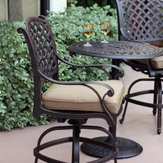 Darlee Nassau Swivel Aluminum Patio Bar Height Chair With Tan Cushion Lowes  456 Bronze