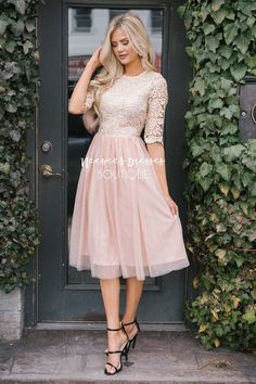 This feminine dress is everything you have been looking for! Lace, sparkles, tulle and modest too! Modest Homecoming Dresses, Skirt Outfits Modest, Dress Outfits, Casual Dresses, Summer Dresses, Modest Wear, Modest Dresses For Teens, Modest Church Outfits, Church Dresses For Women