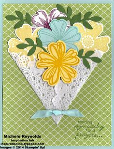 Flower Shop Bouquet Sympathy by Michelerey - Cards and Paper Crafts at Splitcoaststampers Mothers Day Cards, Sympathy Cards, Paper Cards, Cool Cards, Flower Cards, Creative Cards, Scrapbook Cards, Homemade Cards, Stampin Up Cards