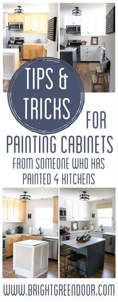 Tips for Painting Cabinets, Tricks for Painting Cabinets, Painting Kitchen Cabinets. www.BrightGreenDoor.com