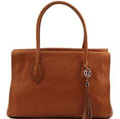 Borsa in pelle a mano da donna con tracolla e nappa esterna Tuscany Leather