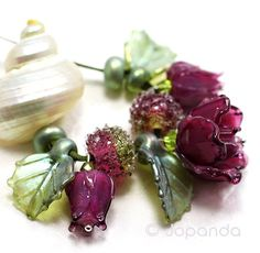 Lampwork by JOPANDA  Roses dark Cranberry Glamour Necklace
