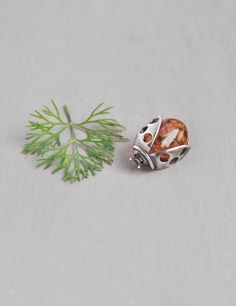 Vintage Amber Ladybug Brooch -sterling silver lady bug beetle insect lapel pin by CuriosityCabinet on Etsy