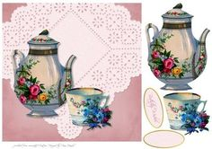 Tea Time on Craftsuprint designed by Diane Hannah - Tea Time is a simple but elegant card sheet. It includes decoupage elements and text tags. - Now available for download!