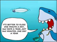 It's better to floss one minute a day, 365 days a year... Not 365 minutes, one day a year.