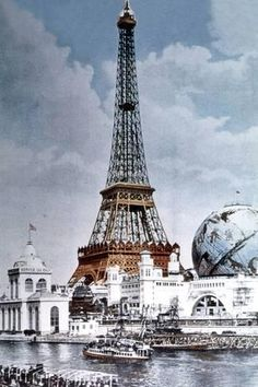 Photo: The Eiffel Tower and 'Globe Celeste' at the 1900 World Exposition : 18x12in