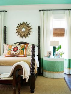 fabulous! love that pillow and the painted ceiling!