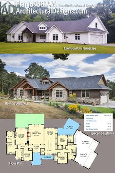 Beautiful Northwest Ranch Home Plan - 69582AM | Architectural Designs - House Plans Garage Extension, Ranch House Plans, House Floor Plans, The Plan, How To Plan, Modern Farmhouse Exterior, Farmhouse Plans, Next At Home, The Ranch