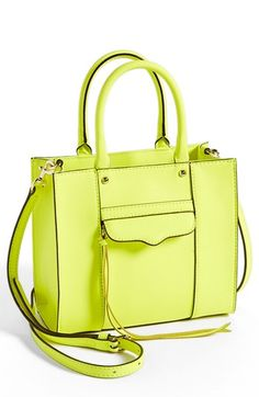 $195, Rebecca Minkoff Mab Mini Leather Tote Neon Yellow. Sold by Nordstrom. Click for more info: https://lookastic.com/women/shop_items/64151/redirect