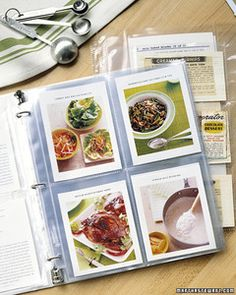 Recipe File--Adding double sided recipe cards to a binder/cookbook
