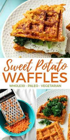 Bust out those waffle makers for this Sweet Potato Waffle Breakfast Sandwich. Five simple ingredients combined for one epic paleo sandwich. compliant too Whole 30 Breakfast, Breakfast Waffles, Paleo Breakfast, Breakfast Recipes, Whole30 Breakfast Ideas, Savory Waffles, Sweet Potato Pancakes, Sweet Potato Breakfast, Whole30 Sweet Potato
