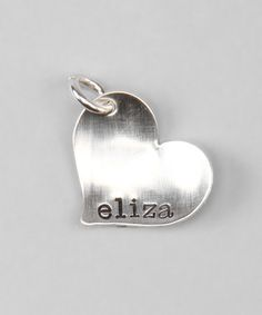 Look what I found on #zulily! Sterling Silver Slant Personalized Heart Charm by Five Little Birds by Littlefield Lane #zulilyfinds