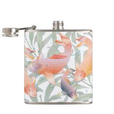 Rainbow Koi Fish & Green Water Plants Hip Flask #weddingFavor