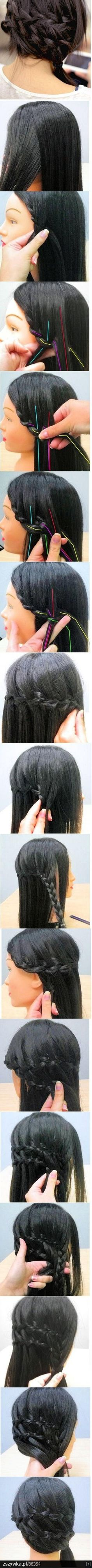 Braids to the side and around the head. I'm sure it's rather complicated and a little tricky. But looks cool.