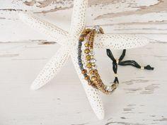 Bracelet bronze copper silver black beads cord by SeamariesBounty