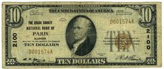 The Edgar County National Bank of Paris Illinois - 10 Dollar Bill Type 1 1929.