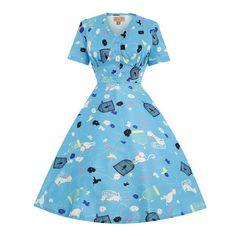 343541ccdddab Nwt Lindy Bop Ionia Birdcage Cat Tea Dress Us-10 Blue Tea Dresses, Pin