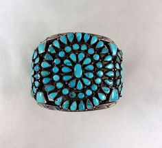 1930s era large bracelet, sterling silver set with very high quality natural turquoise, could be old Godber Mine.
