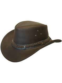 85d7891aedd Cov-ver Conner Hats Outback Leather A1001 Brown Size Medium