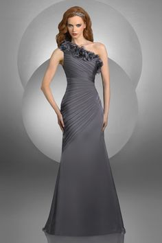 ecb2b0d59be Bari Jay One Shoulder Bridesmaid Dress with Flowers 417. Couture Bridal Co.