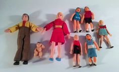 Vintage Rubber Family Dolls. Cloth Clothing. Small 8 Pieces Free Shipping Retro  #Unknown #Dolls