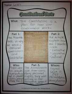 Primary Source Graphic Organizer on the Constitution...Free!