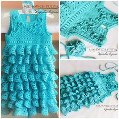 Knit & Crochet  КРАСИВЫЕ ВЯЗАНЫЕ ВЕЩИ: Платье с воланами (рюшами). Вязание крючком.