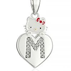 "Hello Kitty Girls' Crystal and Enamel ""M"" Initial Pendant Necklace, 18"" //Price: $ & FREE Shipping //     #hellokitty World of Hello Kitty https://worldofhellokitty.com/product/hello-kitty-girls-crystal-and-enamel-m-initial-pendant-necklace-18/"