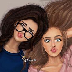 Filename by girly-m on deviantart картинки в 2019 г. Best Friends Cartoon, Friend Cartoon, Cute Friends, Beautiful Girl Drawing, Cute Girl Drawing, Cartoon Girl Drawing, Drawing Girls, Drawing Eyes, Drawing Hair