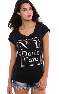 Deb Shops High Low Tee with No I Dont Care Screen $12.00