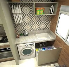 Lavanderia by Divonsir Borges Small Laundry Rooms, Laundry Room Design, Compact Laundry, Design Kitchen, Küchen Design, Layout Design, Design Ideas, Interior Design Living Room, Living Room Designs
