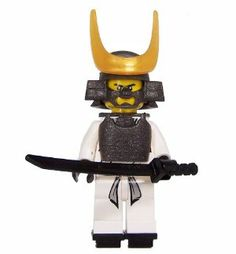 Samurai (White) - miniBIGS Custom Ninjago Minifigure by minBIGS. $15.00. Includes all pieces shown!. An amazing addition to your LEGO Ninjago Collection.. Our Samurai Minifigure includes 9 pieces in total.  His Head, Torso Assembly, Leg Assembly, and Katana are all manufactured by LEGO.  The figure also includes a set of custom parts by Minifig.cat.  These parts include a Samurai Helmet, Samurai Armor, Samurai Helmet Badge, and two Geta Sandals.