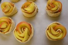 Apple Roses Wrapped in Puff Pastry and Cinnamon Sugar and baked (glaze with melted apricot jelly when they come out of the oven)