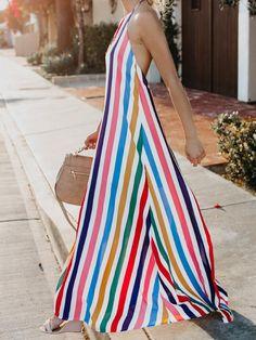 889d2718d8cd 2018 New Print Halter Backless Beach Maxi Dress
