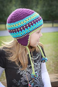 Child  Striped Nordic Fair Isle Inspired Crochet Winter Beanie Skull Earflap Hat