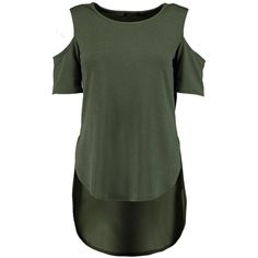 Katie Cold Shoulder Dip Back Top ($2.86) ❤ liked on Polyvore featuring tops, shirts, green top, cut out shoulder shirt, cut out shoulder top, green shirt and cold shoulder shirts