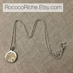 Gold Rose Necklace, Hand Engraved Rose Necklace, Gold and Silver Rose Necklace on Etsy, $65.00