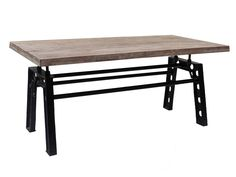Table de repas industrielle pieds U en 180 cm fixe  Manivelle Meuble House