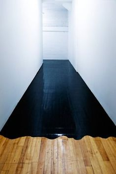black paint on parquet Interior Architecture, Interior And Exterior, Architecture Images, Design Interior, Interior Paint, Kitchen Interior, Home Decoracion, Painted Floors, Painted Floorboards
