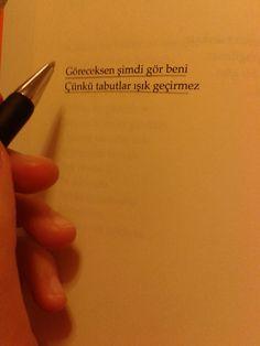 Göreceksen şimdi gör beni, Çünkü tabutlar ışık geçirmez. - Ahmet Erhan Deep Meaning, My Philosophy, English Quotes, Cool Words, Karma, Sentences, Meant To Be, Literature, Poems