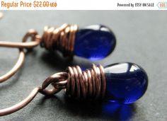 EASTER SALE COPPER Earrings - Cobalt Blue Earrings in Copper Wire Wrapped Teardrop Earrings. Handmade Jewelry. by TheTeardropShop from The Teardrop Shop. Find it now at http://ift.tt/1SYjxh3!